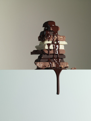Milk Chocolate「Chocolate syrup dripping over stack of chocolate bars」:スマホ壁紙(3)