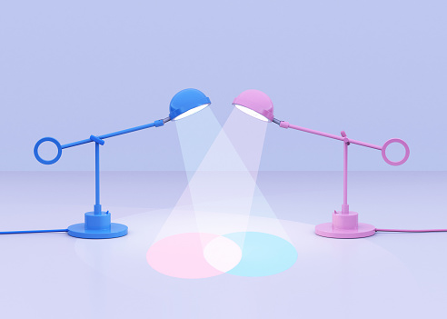 Contrasts「Blue and pink lamps creating a venn diagram」:スマホ壁紙(9)