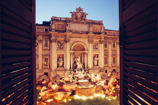 Gothic Style「Trevi Fountain window view」:スマホ壁紙(10)