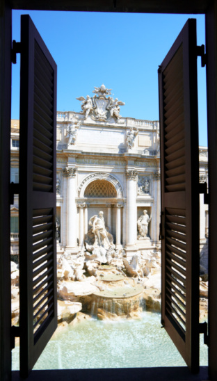 Piazza di Trevi「Trevi Fountain through shuttered window」:スマホ壁紙(18)
