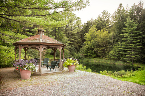 Stowe - Vermont「Gazebo by a lake」:スマホ壁紙(14)
