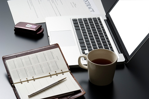 Calendar「High angle view of business tools on black desk」:スマホ壁紙(4)