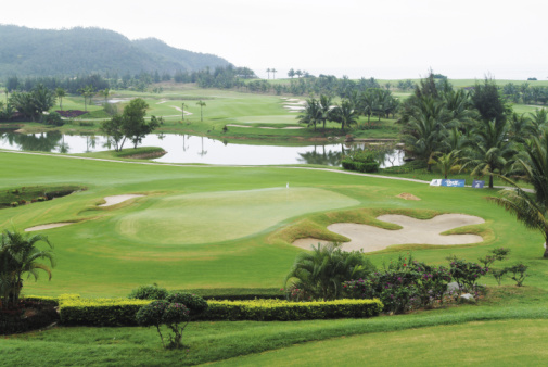 Sand Trap「High angle view of golf course」:スマホ壁紙(2)