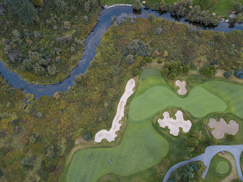 Sand Trap「High angle view of golf course」:スマホ壁紙(5)