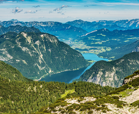 European Alps「High angle view of Lake Hallstatt from Krippenstein」:スマホ壁紙(0)