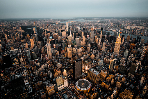 Hudson River Park「High angle view of a Manhattan metropolitan area, taken at sunset from a helicopter」:スマホ壁紙(1)