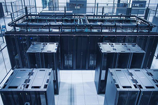 High angle view of technology in server room:スマホ壁紙(壁紙.com)