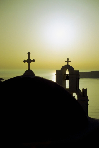 Aegean Sea「High angle view of Santorini Church, Greece」:スマホ壁紙(7)