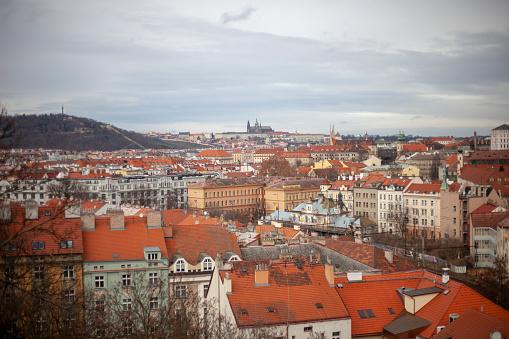 フラッチャニ「High angle view of Prague, Czech Republic」:スマホ壁紙(9)