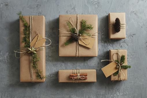 Gift「High angle view of Christmas presents」:スマホ壁紙(3)