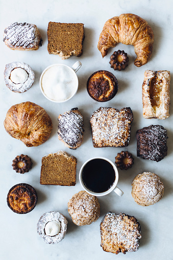 Bakery「High angle view of variety of pastries and coffee」:スマホ壁紙(1)