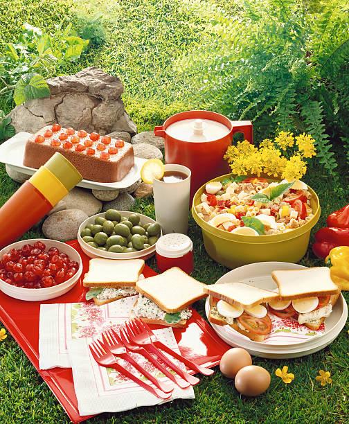 high angle view of food displayed at a picnic:スマホ壁紙(壁紙.com)