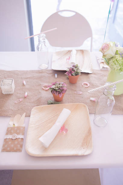 High angle view of place setting on table:スマホ壁紙(壁紙.com)