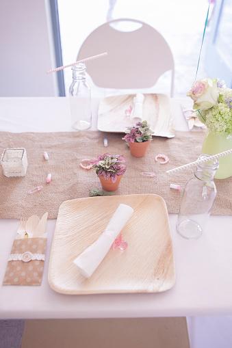 テーブルセッティング「High angle view of place setting on table」:スマホ壁紙(18)