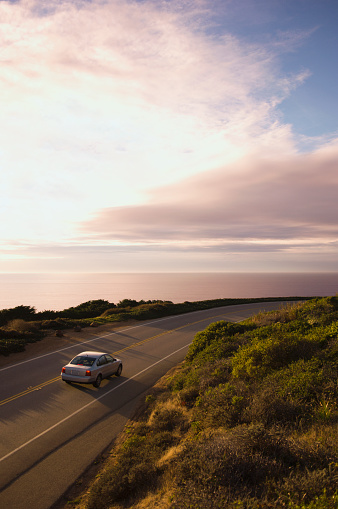 Oil Industry「High angle view of car on coastal highway」:スマホ壁紙(11)