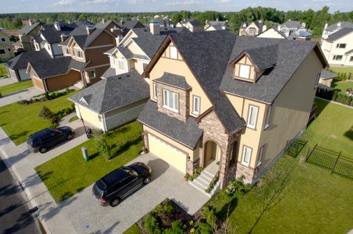Building Exterior「High angle view of suburban houses」:スマホ壁紙(17)