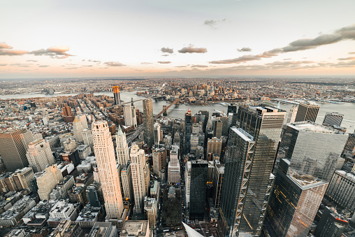 Twilight「High Angle view of Manhattan Skyline, New York」:スマホ壁紙(8)