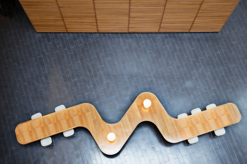 Fashion「High angle view of modern table in office lobby」:スマホ壁紙(12)