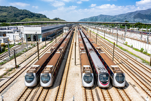 Railway「High angle aerial view of MTR Pat Heung Maintenance centre depot with train lines」:スマホ壁紙(13)