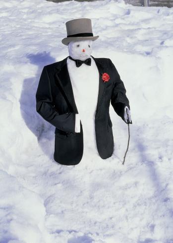 雪だるま「high angle view of a snowman wearing a hat and suit」:スマホ壁紙(15)