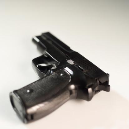 Semi-Automatic Pistol「High angle view of a gun」:スマホ壁紙(16)