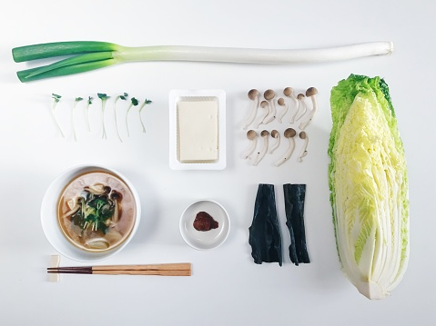 Seaweed「High Angle View of Bowl of Japanese Miso Soup and  Ingredients」:スマホ壁紙(3)