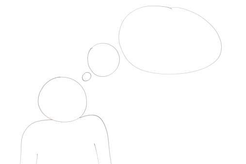 Cartoon「Character with a thought diagram」:スマホ壁紙(12)