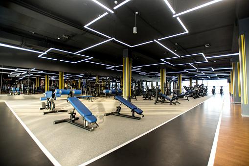 Weight Training「Modern gym with sports equipment」:スマホ壁紙(8)