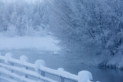The Nature Conservancy「Fence and snowy trees over remote river」:スマホ壁紙(15)