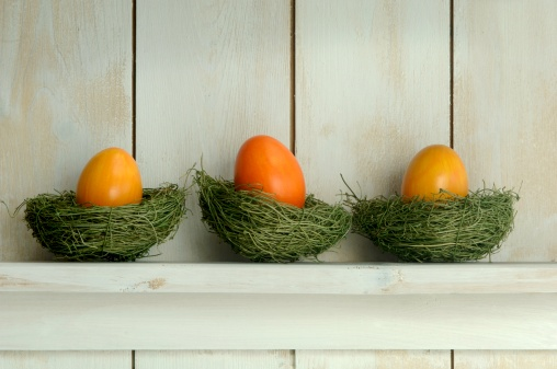 鳥の巣「Orange easter eggs lying in nest on shelf, close-up」:スマホ壁紙(15)