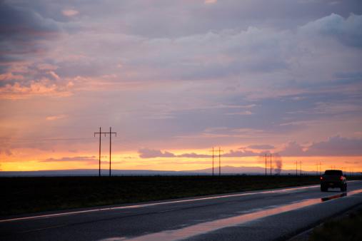 Electricity Pylon「Truck on Highway after Storm at Sunset」:スマホ壁紙(7)