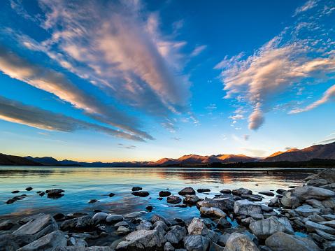 South Island New Zealand「New Zealand, South Island, Canterbury Region, Lake Tekapo at sunset」:スマホ壁紙(8)
