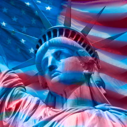 Growth「Statue of liberty superimposed on American flag, New York City, New York State, USA」:スマホ壁紙(11)