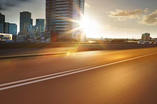 City Life「Inner city road sunrise」:スマホ壁紙(13)