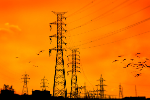 Electricity Pylon「sunset over power line」:スマホ壁紙(0)