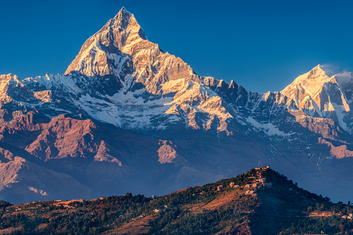 Annapurna Conservation Area「Sunset over Machapuchare seen from Pokhara, Nepal」:スマホ壁紙(1)