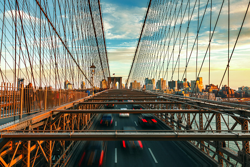 Leaving「Sunset Over Brooklyn Bridge in New York City」:スマホ壁紙(8)