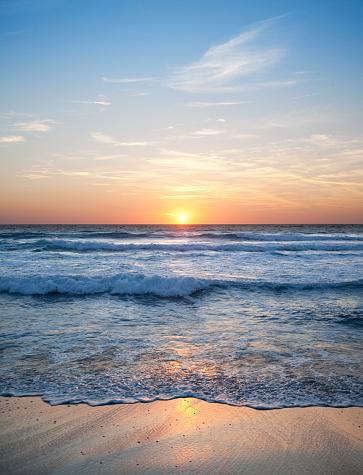 Wave「海の夕日」:スマホ壁紙(15)