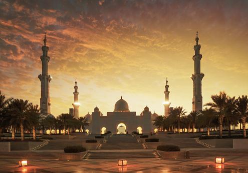 Minaret「Sunset over Sheikh Zayed Grand Mosque」:スマホ壁紙(14)