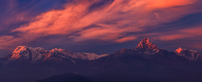 Annapurna Conservation Area「Sunset over Annapurna Range, Nepal」:スマホ壁紙(6)