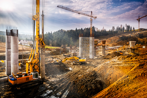 Industry「Sunset over construction of the viaduct on the new S7 highway, Poland」:スマホ壁紙(2)