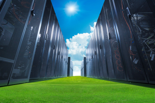 Supercomputer「A data center with servers on green grass and a blue sky」:スマホ壁紙(15)