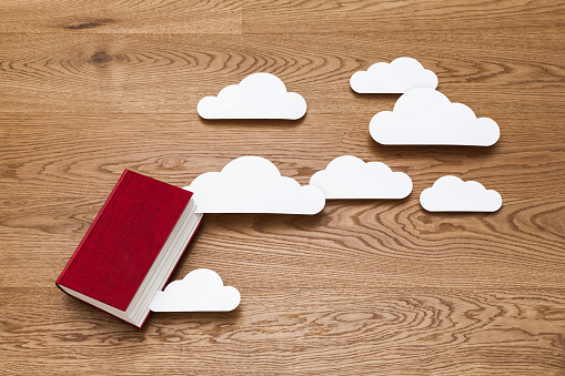 Paper Craft「Paper clouds coming out of a book」:スマホ壁紙(17)
