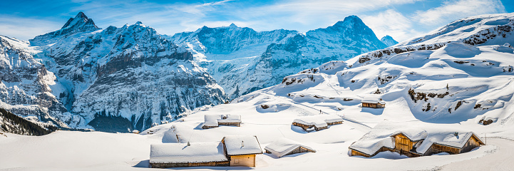European Alps「Winter wonderland wooden ski chalets Alpine village snowy mountain peaks」:スマホ壁紙(3)