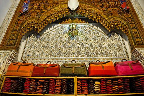 Gift Shop「Street Shop with Bags and Slippers Fez Morocco Africa」:スマホ壁紙(1)