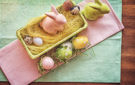Easter「Colorful Easter Decoration with Eggs and Easter Bunnies」:スマホ壁紙(0)