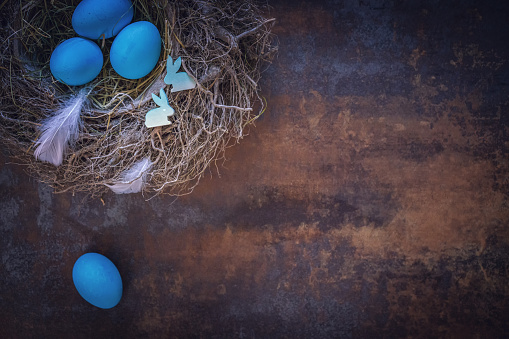 Easter Bunny「Colorful Easter Eggs Decoration on Wooden Background」:スマホ壁紙(3)