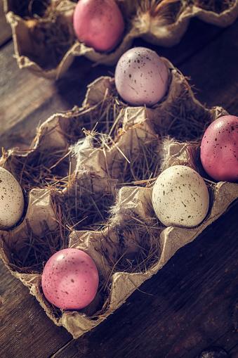 イースター「Colorful Easter Eggs Decorated on Wooden Background」:スマホ壁紙(5)