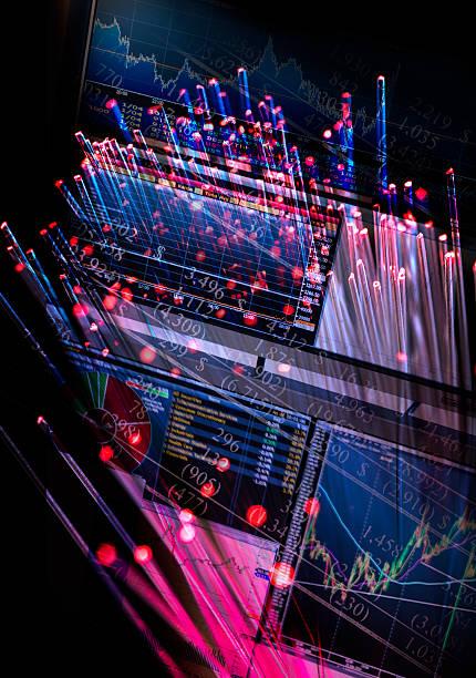Hologram of fiber optics and computer:スマホ壁紙(壁紙.com)