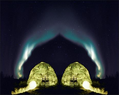 Igloo「Igloo and northern lights, mirror image」:スマホ壁紙(10)